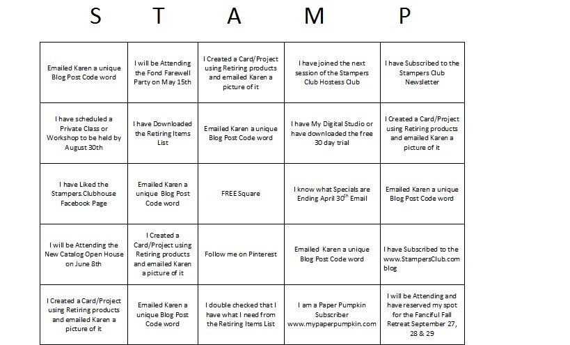 stamp bingo card