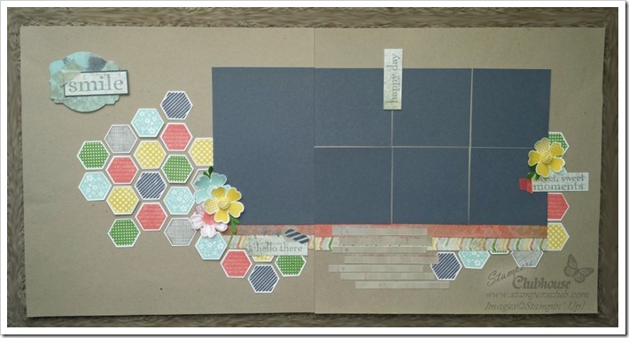 six sided sampler scrapbook page